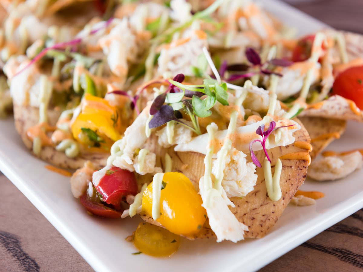 A platter of crab-topped nachos at Smithy