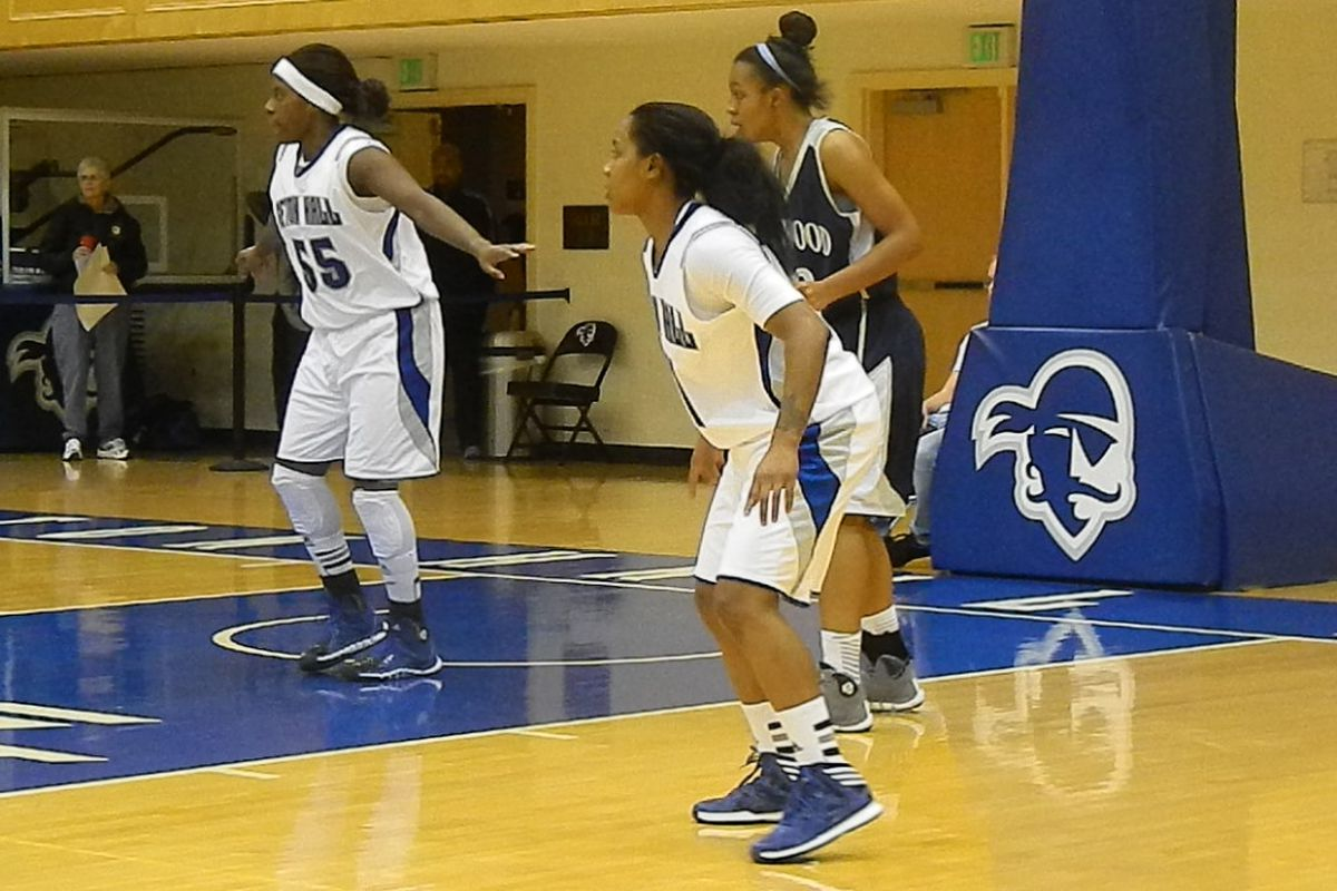 Seton Hall's Ka-Deidre Simmons (right) scored 14 points in a win over Longwood on Friday night.