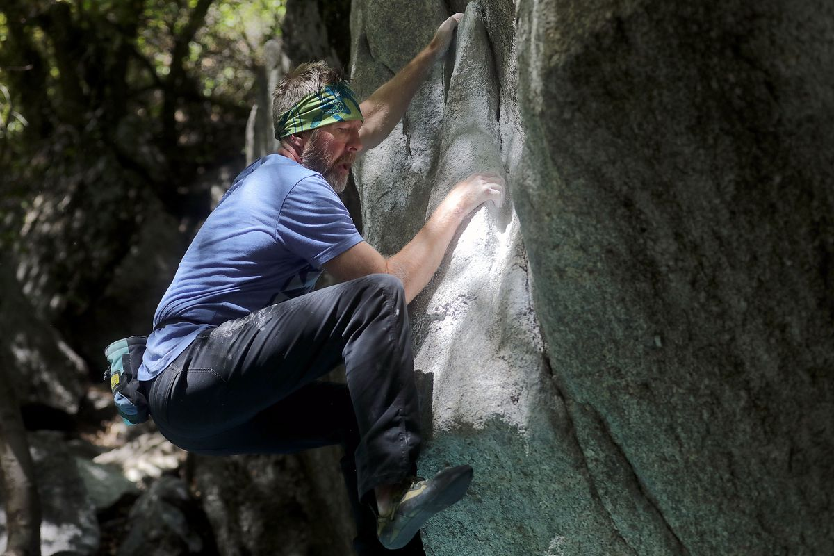 Paul Jones boulders on the Gate Buttress Boulders in Little Cottonwood Canyon on Monday, Aug. 23, 2021.