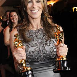 Kathryn Bigelow with the Oscars for Best Director and Best Picture at the Governors Ball following the the 82nd Academy Awards Sunday.