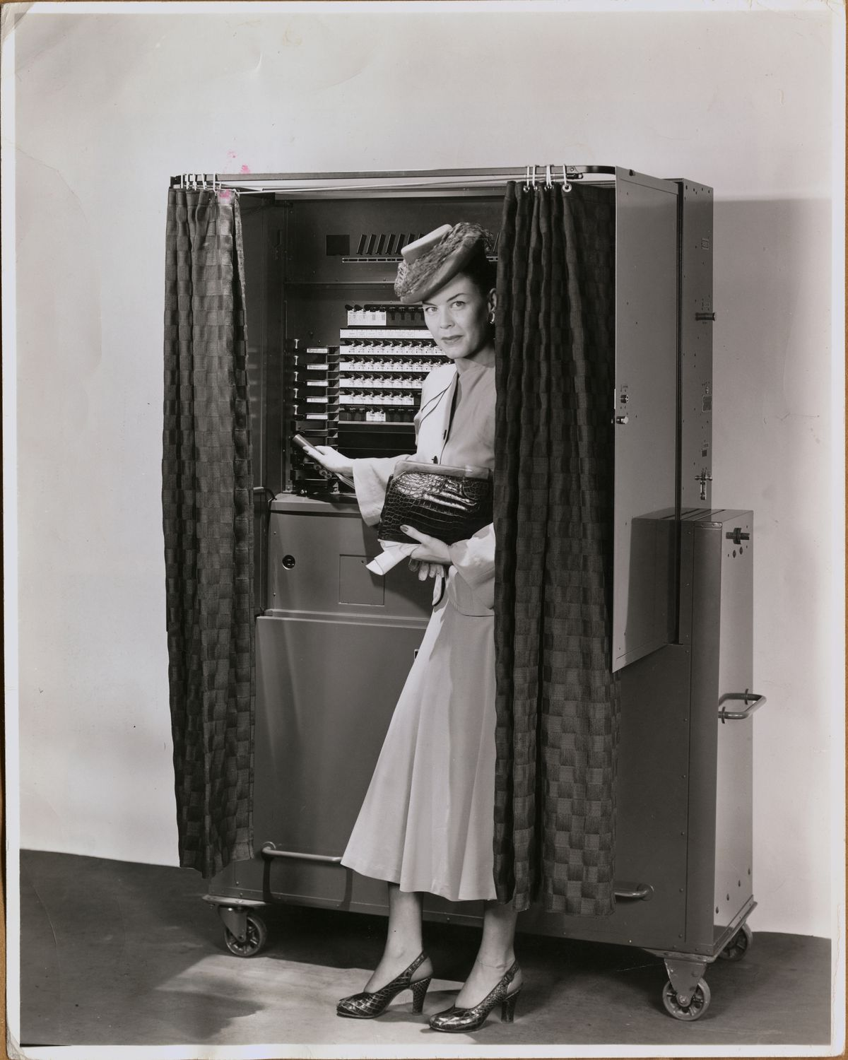 Female Model Posing with Early Voting Booth