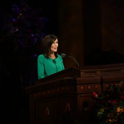 Sister Becky Craven, second counselor in the Young Women general presidency, speaks during the women's session of the 190th Semiannual General Conference of The Church of Jesus Christ of Latter-day Saints on Saturday, Oct. 3, 2020.