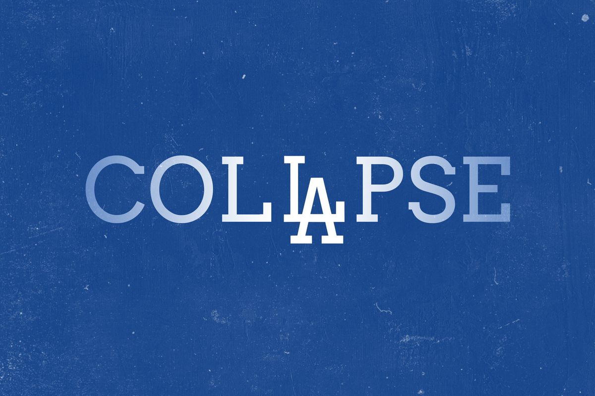 """The word """"COLLAPSE"""" with the Los Angeles Dodgers' logo incorporated"""