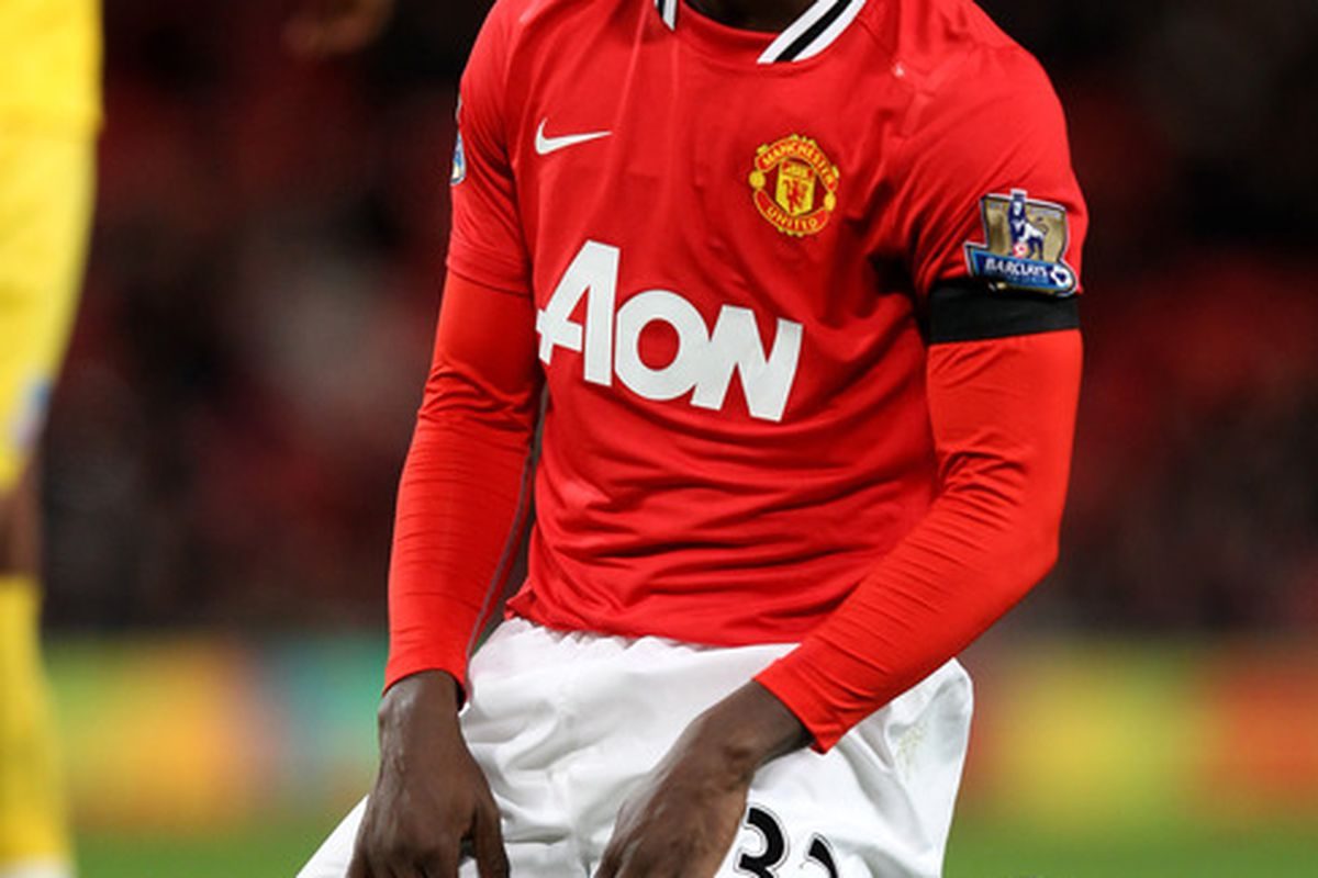 Mame Biram Diouf of Manchester United looks dejected at the end of the Carling Cup Quarter Final match between Manchester United and Crystal Palace at Old Trafford.