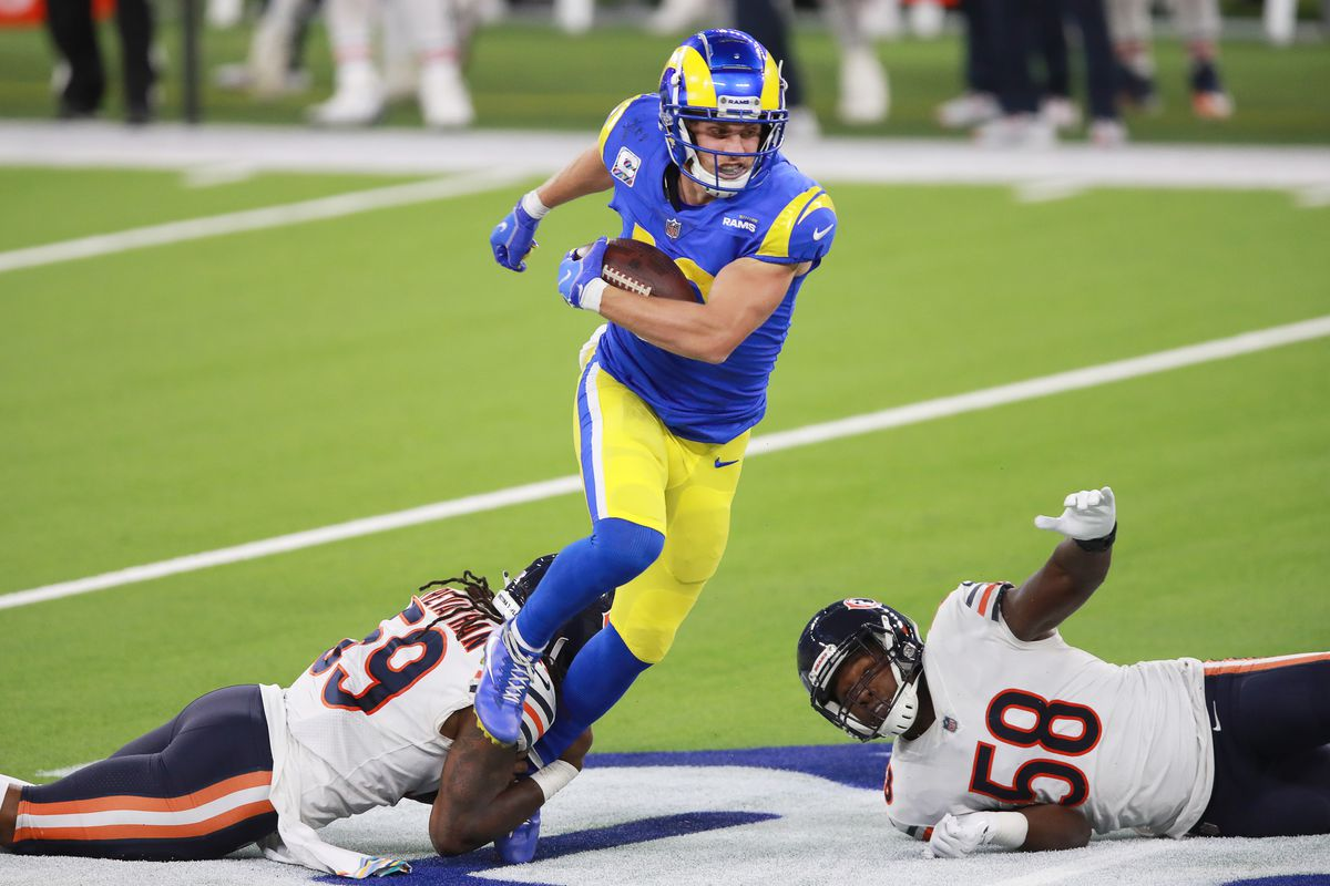 Cooper Kupp #10 of the Los Angeles Rams evades a tackle from Danny Trevathan #59 of the Chicago Bears in the third quarter at SoFi Stadium on October 26, 2020 in Inglewood, California.
