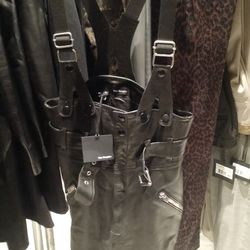 Leather overalls, $150
