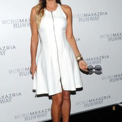 Daisy Fuentes poses before the BCBG MAX AZRIA Spring 2013 collection is shown at Fashion Week in New York, Thursday, Sept. 6, 2012.