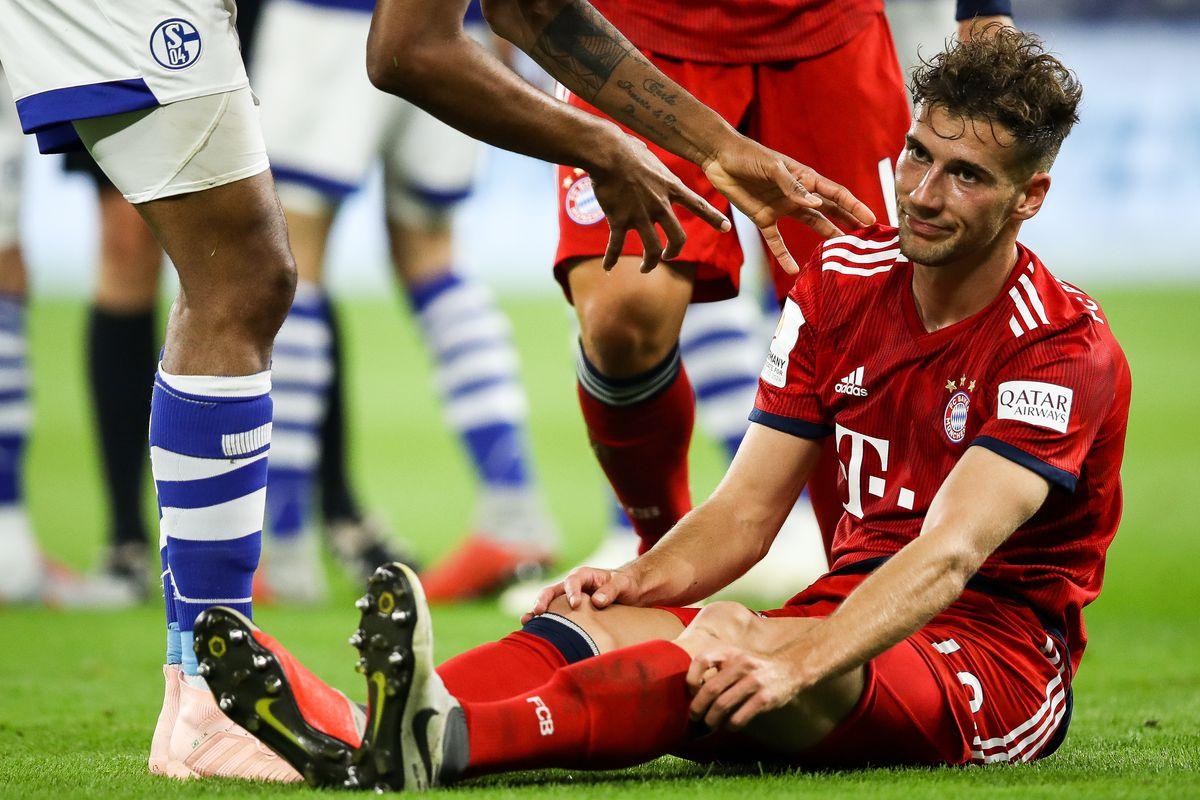 GELSENKIRCHEN, GERMANY - SEPTEMBER 22: Leon Goretzka #18 of Bayern Munich reacts during the Bundesliga match between FC Schalke 04 and FC Bayern Muenchen at Veltins-Arena on September 22, 2018 in Gelsenkirchen, Germany.