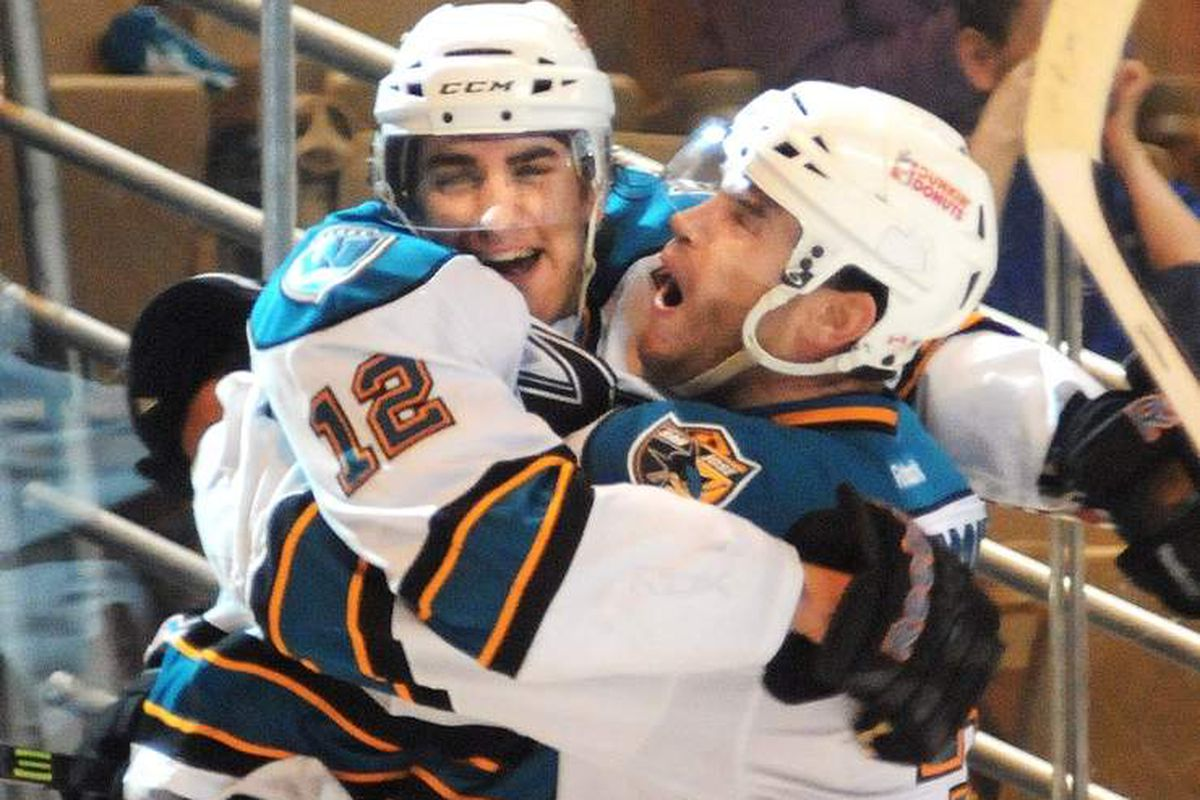 Worcester Sharks forward Freddie Hamilton celebrates his second period goal with Sharks captain Rob Davison at the DCU Center Saturday night.