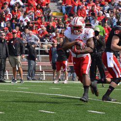 Running back Corey Clement runs through drills.