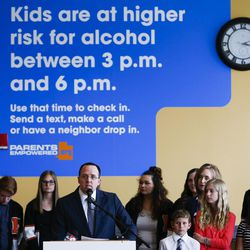 Doug Thomas, director of the Utah Division of Substance Abuse and Mental Health, speaks during a press event for for Parents Empowered at the Utah Department of Human Services in Salt Lake City on Tuesday, May 16, 2017.