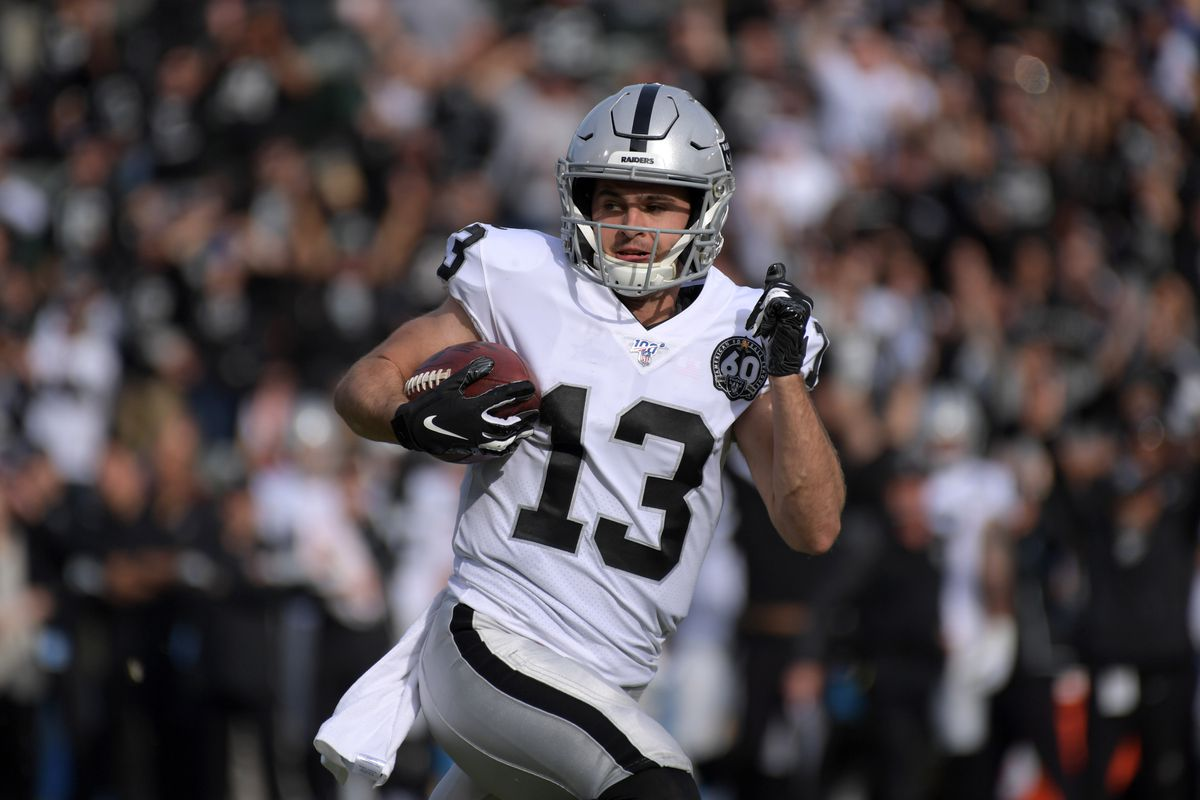 Oakland Raiders wide receiver Hunter Renfrow scores on a 56-yard touchdown reception in the first quarter against the Los Angeles Chargers at Dignity Health Sports Park.