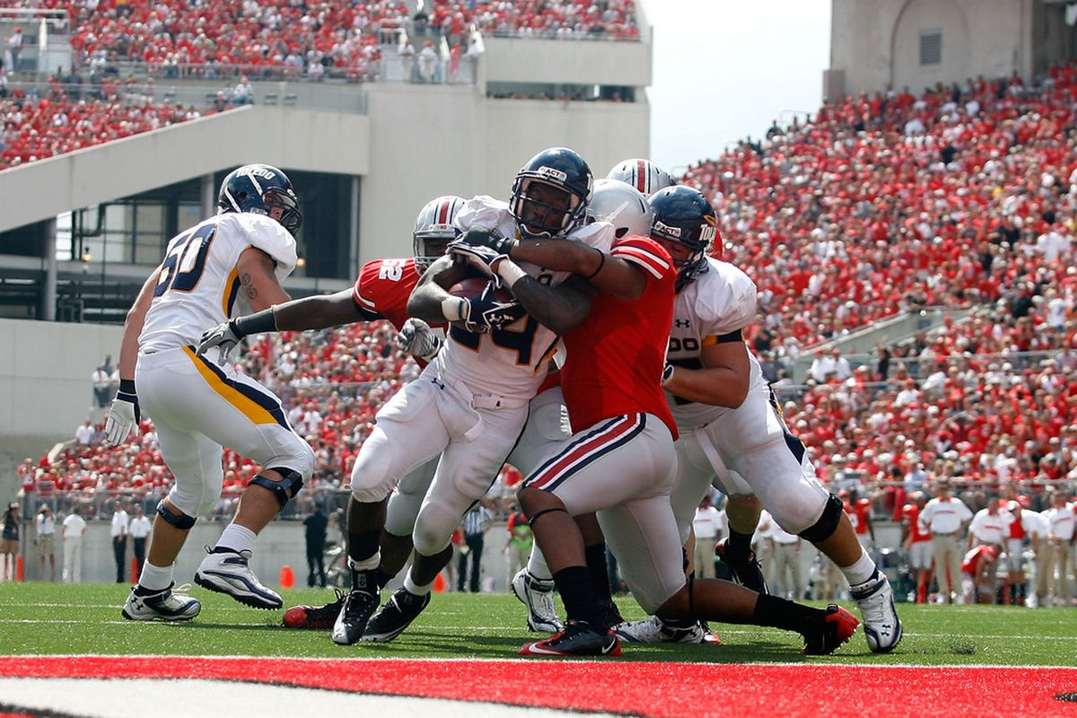 Adonis Thomas goes in for a score. Toledo did quite a bit of that this year.
