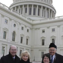 Elder L. Tom Perry, right, and Elder Quentin L. Cook, left, of the Quorum of the Twelve were assigned by the First Presidency to respond to a formal invitation to represent the Church at the 57th Presidential Inauguration at the United States Capitol in Washington D.C. on Monday, Jan. 21. They attended with their wives, Sister Barabara D. Perry and Sister Mary G. Cook. Elder and Sister Perry and Elder and Sister Cook also attended the prayer service at the Washington National Cathedral on Tuesday, Jan 22.