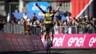 Primoz Roglic of Team Jumbo - Visma celebrates the victory...