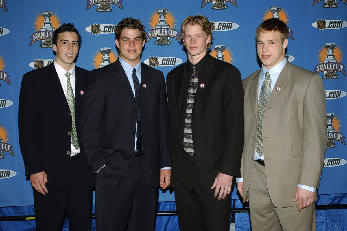 Eric Staal, the Manboy in Black, at the 2003 Stanley Cup Finals before his national interview with Don Cherry on Coach's Corner.  (Photo by Dave Sandford/Getty Images/NHLI)