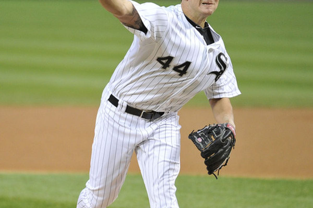 CHICAGO, IL - APRIL 18:   Starting pitcher Jake Peavy #44 of the Chicago White Sox delivers during the first inning against the Baltimore Orioles at U.S. Cellular Field on April 18, 2012 in Chicago, Illinois.  (Photo by Brian Kersey/Getty Images)