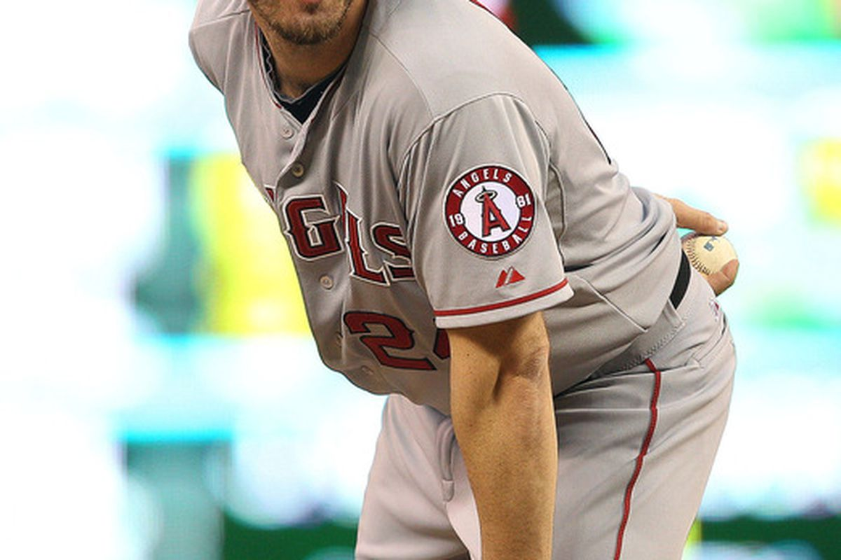 May 8, 2012; Minneapolis, MN, USA: Los Angeles Angels starting pitcher Dan Haren (24) looks on before delivering a pitch in the fourth inning against the Minnesota Twins at Target Field. The Twins won 5-0. Mandatory Credit: Jesse Johnson-US PRESSWIRE