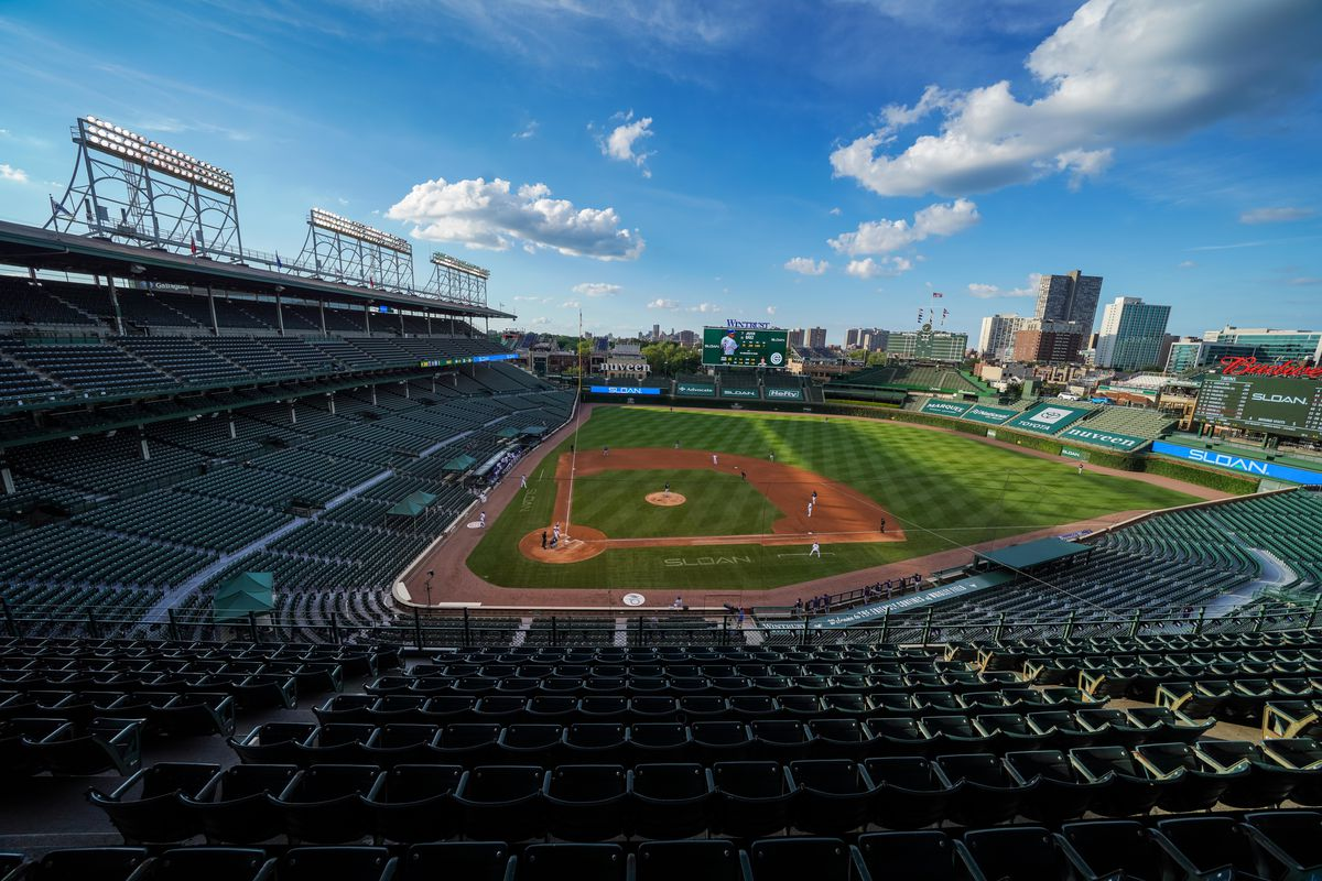 A general view during an exhibition game between the Minnesota Twins and Chicago Cubs at Wrigley Field on July 22, 2020 in Chicago, Illinois.