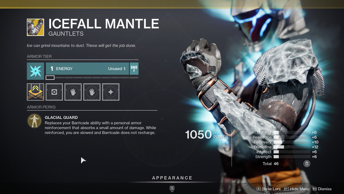 Icefall Mantle Exotic armor Destiny 2