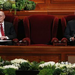 President Henry B. Eyring, first counselor in the First Presidency of The Church of Jesus Christ of Latter-day Saints, and President Dieter F. Uchtdorf, second counselor in the First Presidency, sit next to a chair reserved for President Thomas S. Monson during the General Women's Session of the 187th Annual General Conference in the Conference Center in Salt Lake City on Saturday, March 25, 2017.