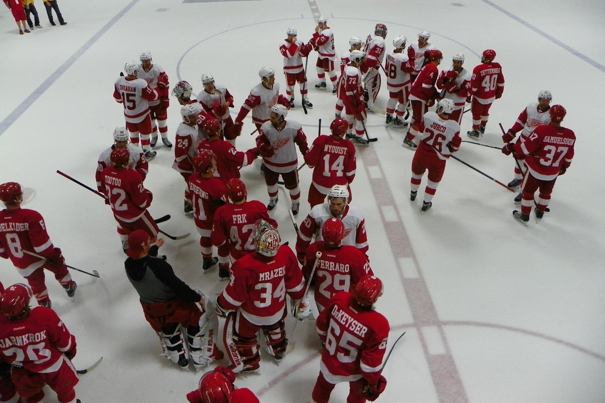 Red Wings Players after the Red & White Game At Training Camp