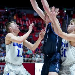 Fremont and Layton compete in a 6A boys basketball semifinal game at the Huntsman Center in Salt Lake City on Friday, Feb. 28, 2020.