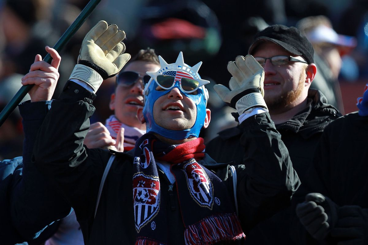 FRISCO, TX - FEBRUARY 11:  A fan of USA cheers during a international friendly between New Zealand and USA at FC Dallas Stadium on February 11, 2012 in Frisco, Texas.  (Photo by Ronald Martinez/Getty Images)