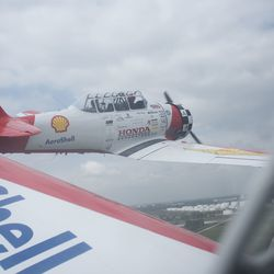 Looking out the window of a T-6 Texan of the AeroShell Aerobatic Team.   Colin Boyle/Sun-Times