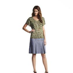 Darted crewneck top, $40; Double pleated skirt, $50