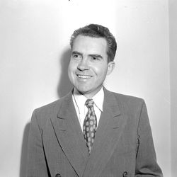 Congressman Richard Nixon came to Salt Lake City for the first time on June 4, 1949 to address a group of newspaper editors at the Hotel Utah. Nixon earn the reputation of a communist fighter in his first term in Congress. W. Claude Johnson, Deseret News Archives