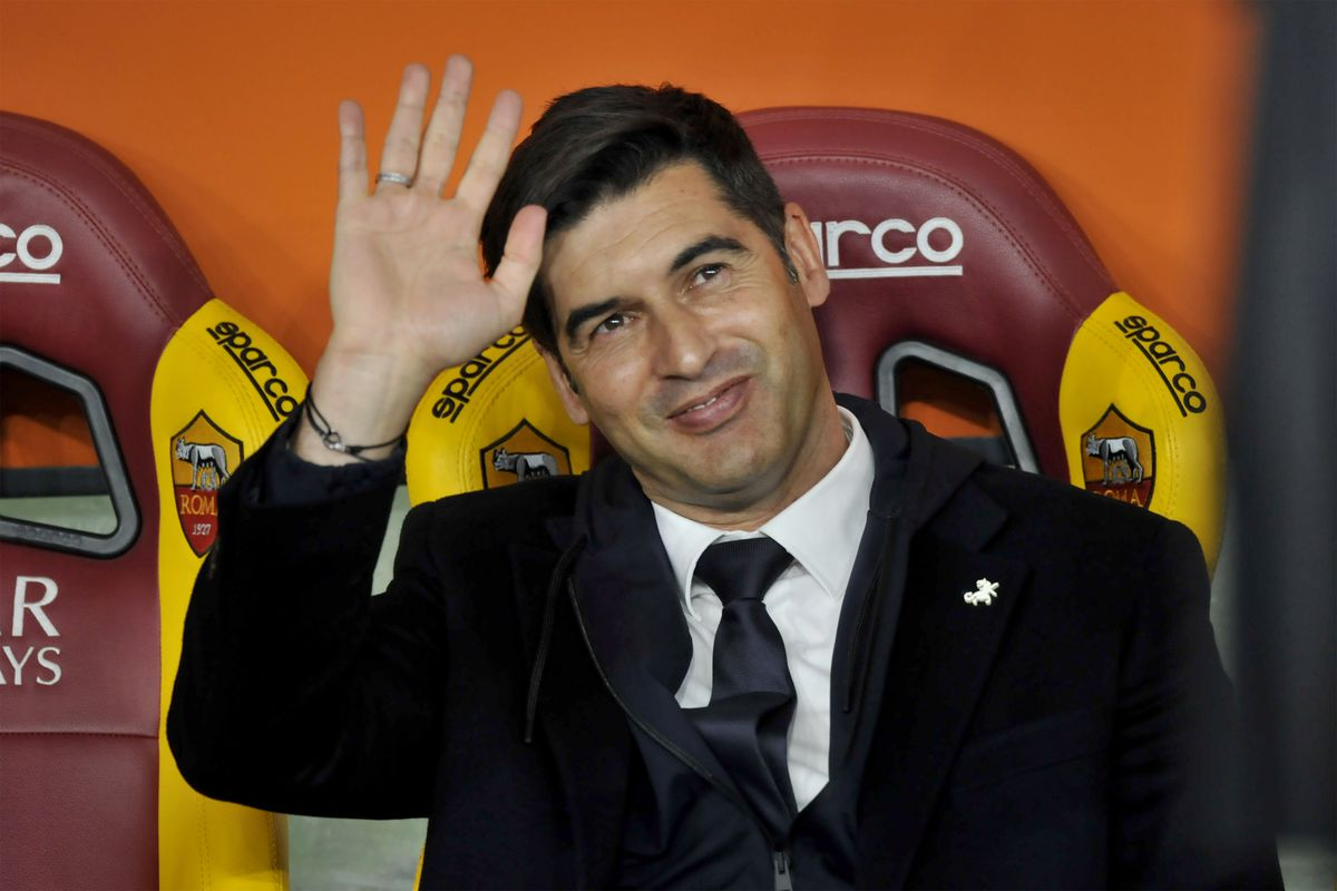 Paulo Fonseca Roma coach greets the fans during the match of...