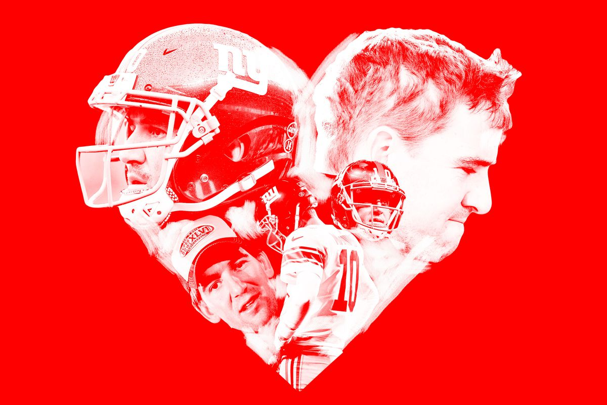 A photo collage of Eli Manning images in the shape of a heart