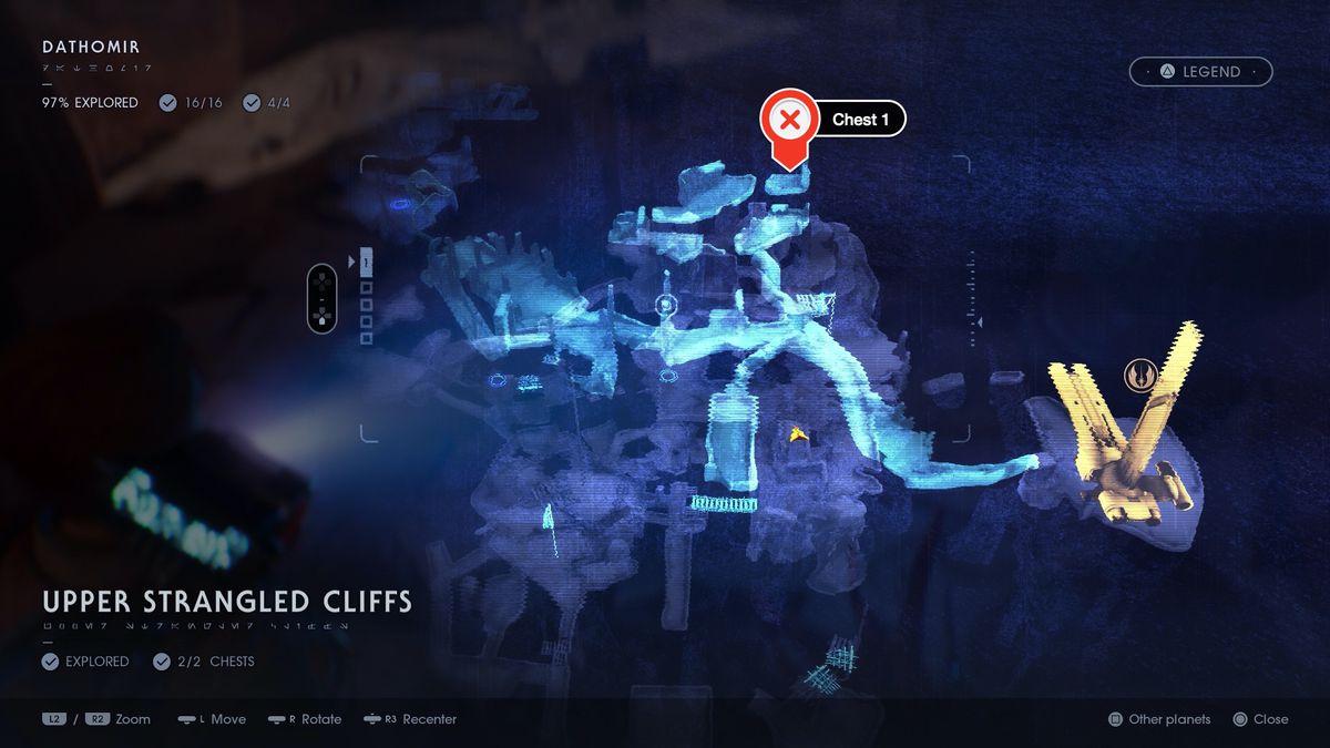 Star Wars Jedi: Fallen Order Dathomir Upper Strangled Cliffs chest locations map