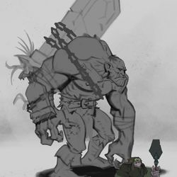 When we started working on the bestiary for Revendreth, we started with the venthyr, the gargoyles, and the dredgers. As we continued to develop Revendreth, we quickly realized we were going to need a lot more creatures to populate the zone. The dredger brute was an effort to provide a wider variety of dredgers and bring more variety to the zone.The idea of having a hulking one that could be used as beast of burden for hauling sinstones came up in a meeting, so I did a quick sketch and put it side by side with the original dredger. <em>Jon McConnell – Senior Character Artist</em>