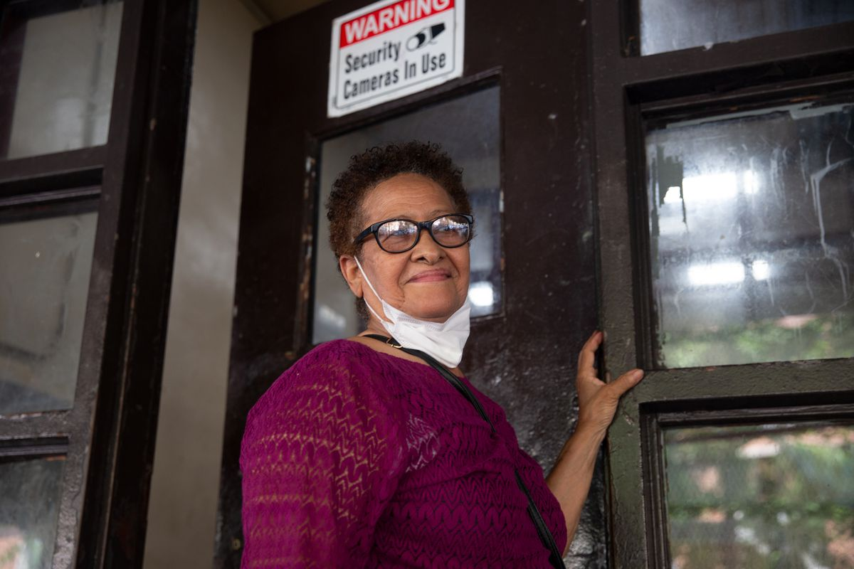 NYCHA resident Carmelina Rodriguez spoke about repairs through the RAD program in her Washington Heights building on West 177th Street, July 7, 2021.