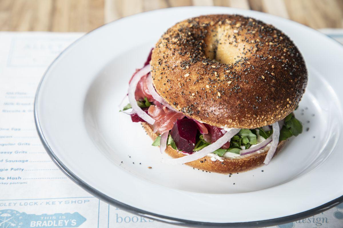 A bagel sandwich at the Grey Market