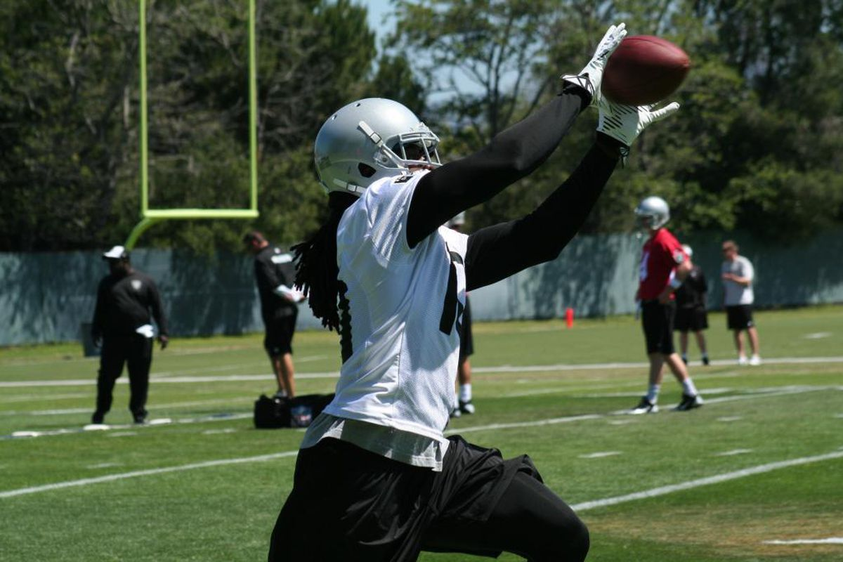 Wide receiver Greg Jenkins hauls in a pass in drills at Oakland Raiders 2014 OTA's