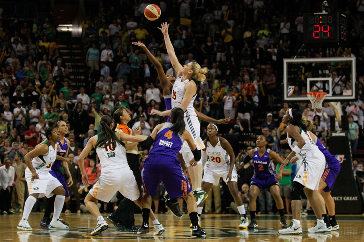 The Seattle Storm and Phoenix Mercury tip-off their WNBA regular season on June 4, 2011. (Kailas Images)