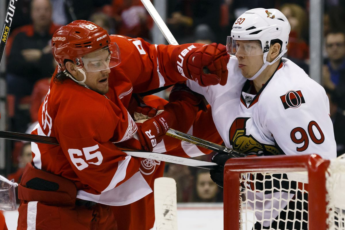 Danny DeKeyser is not impressed by Alex Chiasson's attempt at puppy eyes