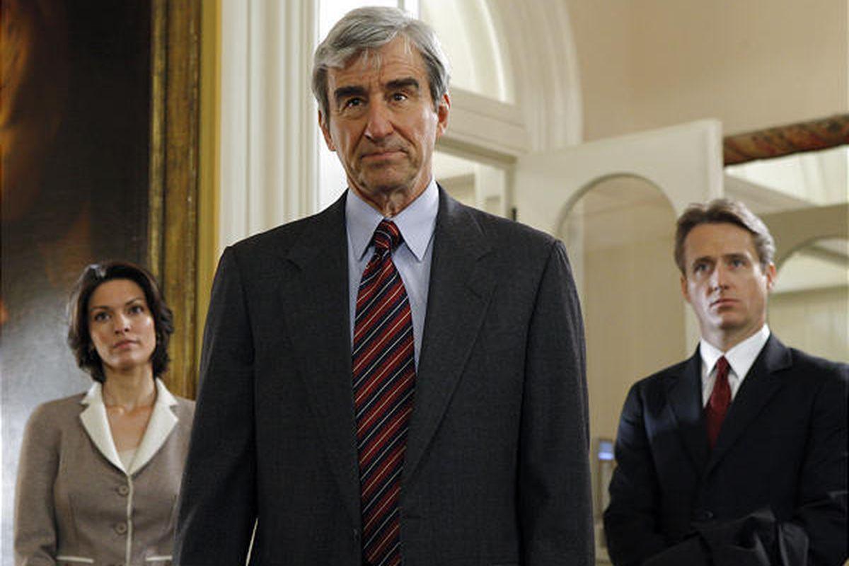 """Alana De La Garza, Sam Waterston and Linus Roache in the 19th-season finale of NBC's """"Law & Order."""""""