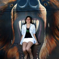 Ashley Gore, Poly High School student and editor of her school's newspaper, poses in front of the school's mascot on Feb. 16, 2016, in the city of Riverside.