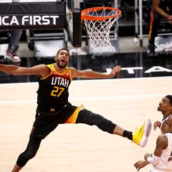 Utah Jazz center Rudy Gobert (27) watches he ball bounce on the rim as the Utah Jazz and the Memphis Grizzlies play in game 5 at Vivint Arena in Salt Lake City on Wednesday, June 2, 2021. Utah won 126-110, Utah advances to the second round.