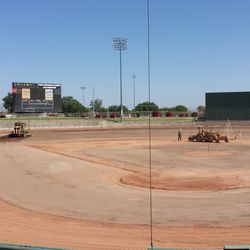 The field from behind home plate