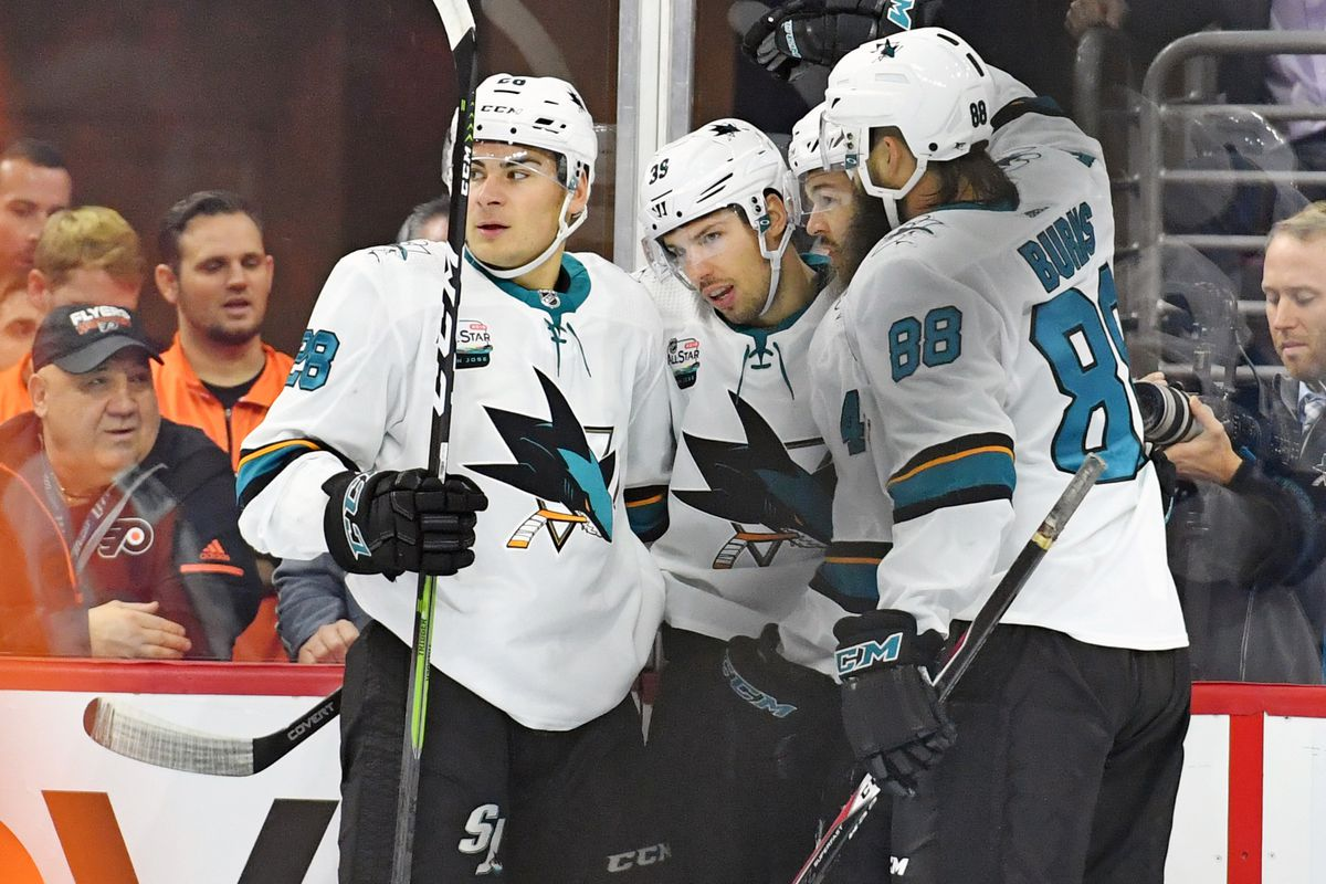 Oct 9, 2018; Philadelphia, PA, USA; San Jose Sharks center Logan Couture (39) celebrates with teammates after scoring a goal against the Philadelphia Flyers during the first period at Wells Fargo Center.