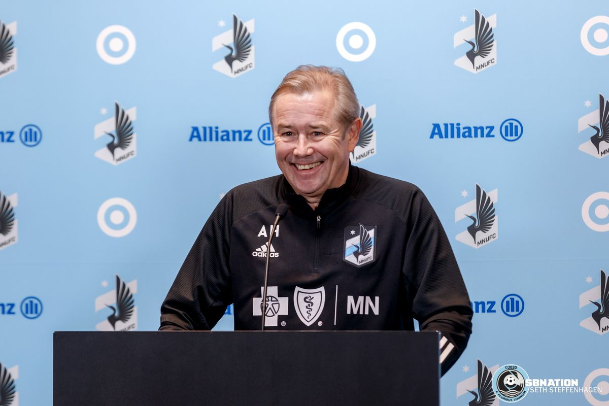 March 10, 2020 - Saint Paul, Minnesota, United States - Minnesota United head coach Adrian Heath answers questions for the media after the Loon's first team practice at Allianz Field.