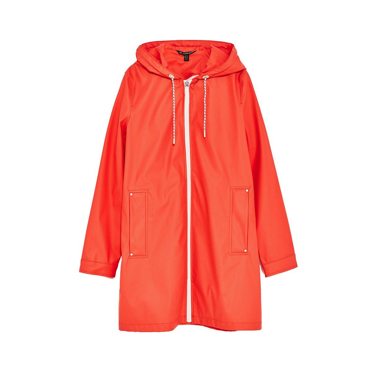 An orange rain coat with hood
