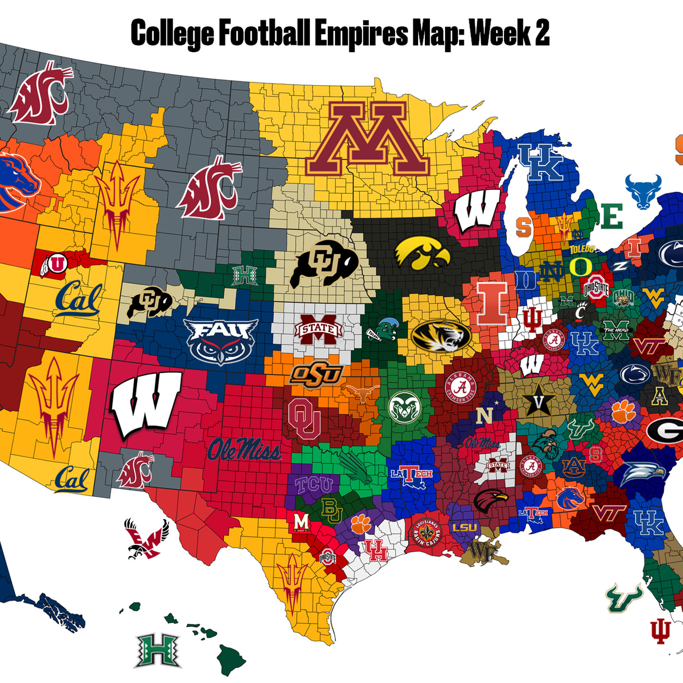 College Football Empires Map 2018 Updated After Week 2 Sbnation Com