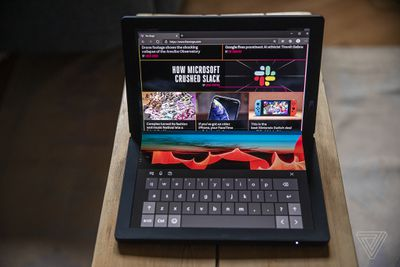 The Lenovo ThinkPad X1 Fold in mini-laptop mode.