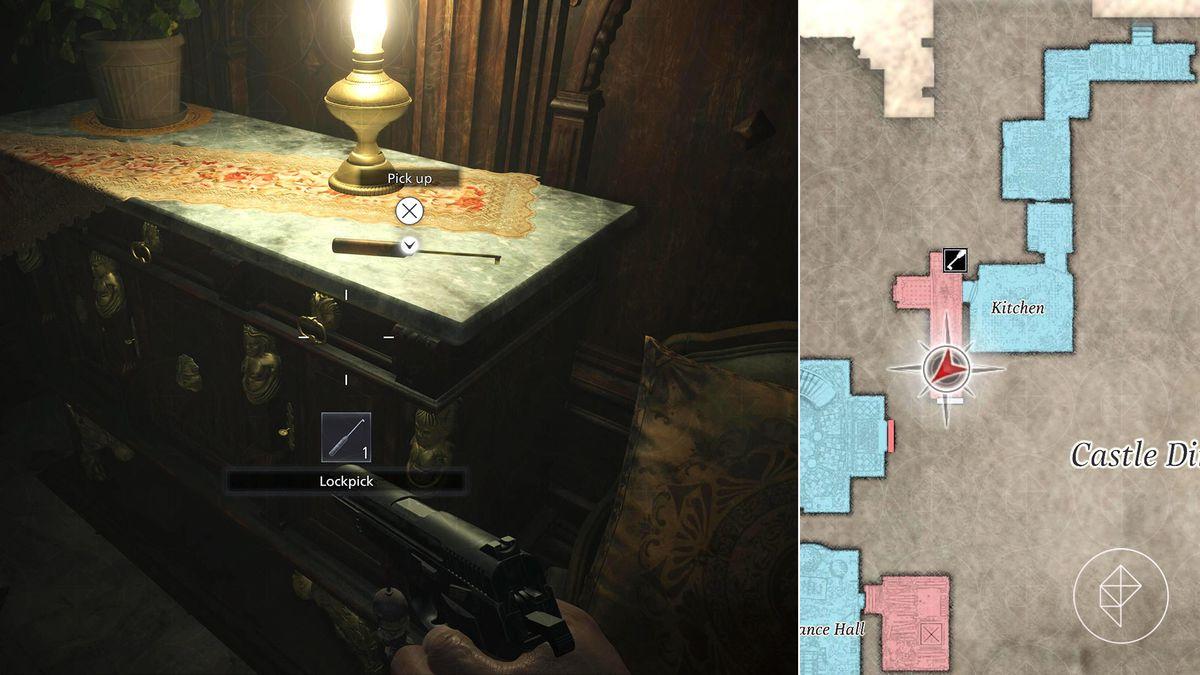 Resident Evil Village Kitchen hallway lockpick location